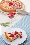 Tarte de fruit avec la framboise et le chocolat blanc Photographie stock libre de droits