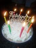Tarte de joyeux anniversaire photographie stock libre de droits