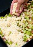 Tarte de levure avec la rhubarbe Image stock