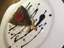 Tarte de mousse Gâteau de chocolat cru cru Photos stock