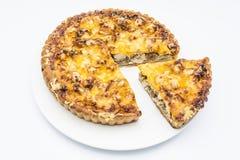 Tarte de poulet avec les champignons et le fromage du plat blanc images stock