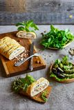 Tarte et légumes de poissons Images libres de droits