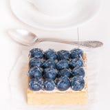 Tarte et tartelettes de citron avec les myrtilles fraîches Photographie stock libre de droits