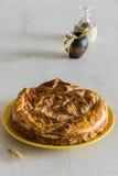 Tarte fait maison couvert de pomme Copyspace Photo stock