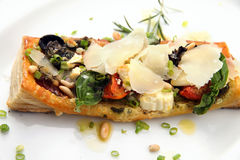 Tarte fine aux food. Tarte fine aux or tart vin food with cheese Royalty Free Stock Photos