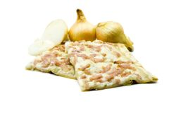Tarte flambee with onions and ham isolated on white background stock images