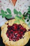 Tarte fraîchement cuit au four de baie Tarte de mûres avec des disparus de tranche image libre de droits