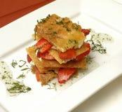 Tarte sablée de fraise avec de la sauce en bon état Image libre de droits