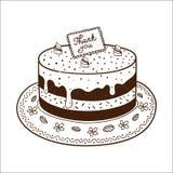 Tarte savoureux de gâteau avec la plaque signalétique de thanksgiving Photos stock