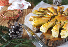 Tarte soleil. New Year  pastry: pesto sun pie and fir branch Stock Photography
