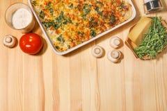Tarte végétal de fromage de poulet Photographie stock libre de droits