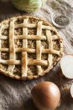 Tarte végétarien traditionnel avec le chou et les oignons Image stock
