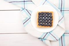 Tartelette avec les bluebarries et la crème anglaise Image stock