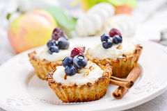 Tartelette with cream and berries on white plate Royalty Free Stock Photo