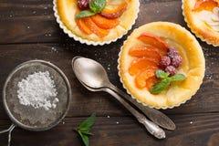 Tartelettes avec le fromage blanc et les fruits frais image libre de droits