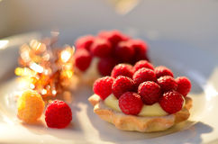 Tartelettes avec les framboises et le carame Image stock