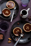 Tartelettes with chocolate ganache and walnuts Royalty Free Stock Image