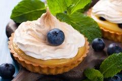 Tartelettes faites maison avec le lait caillé et la meringue de chaux Images libres de droits