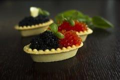 Tartelettes noires et rouges de caviar Images libres de droits
