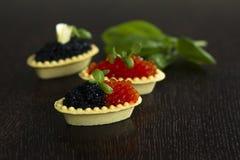 Tartelettes noires et rouges de caviar Image stock