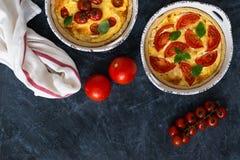 Tartes de tomate avec les feuilles de basilic, fromage d'american national standard de poulet avec des ingrédients sur le fond fo photographie stock
