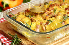 Tartiflette-casserole from potato,cheese,onion and bacon. Royalty Free Stock Images