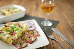 Tartiflette with streaky bacon, potatoes and cheese royalty free stock photo