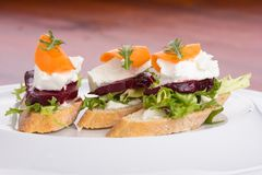 Tartine with beetroot. Tartine with beetroot, cheese, carrot and rocket salad royalty free stock photo