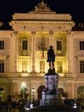 Tartini alla notte, Piran, Slovenia, Europa della piazza Immagine Stock