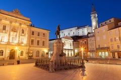 Tartini fyrkant i Piran, Slovenien, Europa arkivbilder