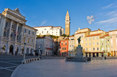 Tartini square with colorful buildings in Piran, small coastal town in Istria Stock Images