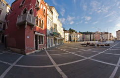 Tartini square with colorful buildings in Piran, small coastal town in Istria Stock Image
