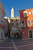Tartini square with colorful buildings in Piran, small coastal town in Istria Stock Photography