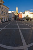 Tartini square with colorful buildings in Piran, small coastal town in Istria Royalty Free Stock Image