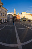 Tartini square with colorful buildings in Piran, small coastal town in Istria Royalty Free Stock Photos