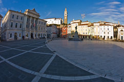 Tartini square with colorful buildings in Piran, small coastal town in Istria Royalty Free Stock Images
