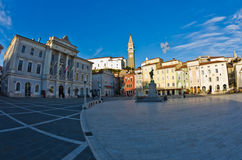 Tartini square with colorful buildings in Piran, small coastal town in Istria Royalty Free Stock Photo