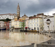 Tartini Square, main square in the town of Piran Stock Images