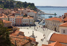 Tartini Square in Piran Stock Images