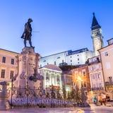 Tartini square in Piran, Slovenia, Europe Stock Image