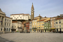 Tartini Square in winter day, Piran Stock Photo