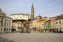 Tartini Square in winter day, Piran. Statue of Giuseppe Tartini in square center, Piran (Italian: Pirano)- Slovenia Stock Photo