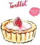 Tartlet χεριών Watercolor με το σμέουρο Στοκ Εικόνα