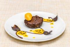 Tartlet шоколада с муссом и sorbet стоковое изображение