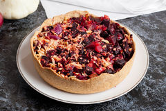 Tartlet with beetroot, red onion and goat cheese | Beet Pie Royalty Free Stock Photo