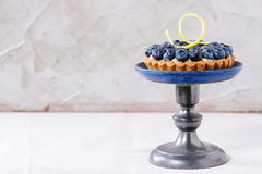 Tartlet with blueberries Stock Photo
