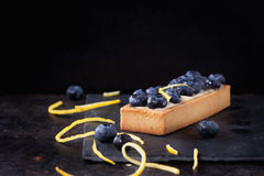 Tartlet with blueberries Stock Photos