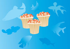 Tartlet and caviar illustration. Illustration with tartlet and caviar on blue background with fish silhouettes Royalty Free Stock Images