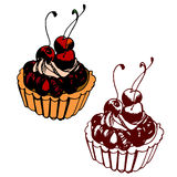 Tartlet with cherry. Hand drawn pastry tartlet with cherry Royalty Free Stock Photo