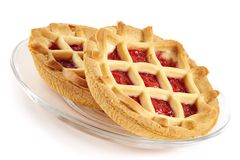 Tartlet with cherry jam Stock Photo